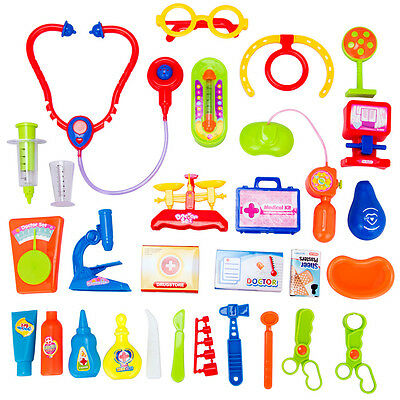 30Pcs Kids Doctor Nurse Medical Role Play Set Case Baby Kit Educational Toy Play