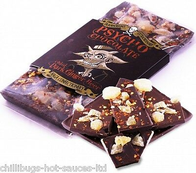 """PSYCHO DARK CHOCOLATE - GINGER BEER WITH NAGA CHILLI"" 100g Bar"