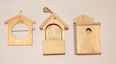 Unpainted Rustic Bird House / Feeders - Paint Your Own - UK Artizan Made