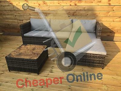 3 Piece Rattan Garden Furniture Sofa Set with Coffee Table