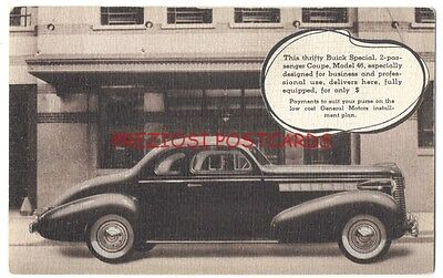 1938 BUICK SPECIAL 2-Passenger COUPE - Scarce Original Factory Issued Postcard