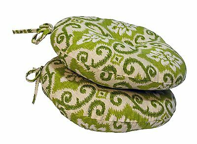 OUTDOOR Green Swirl BISTRO CHAIR CUSHIONS Set of 2 Round 15-Inch Furniture Pad