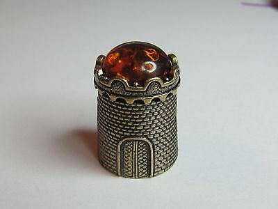 Castle Brass/bronze  With Baltic Amber Russian Thimble - New