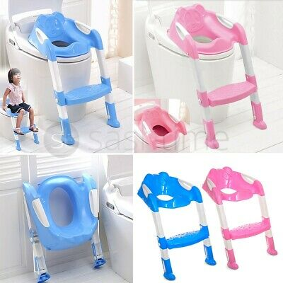 Teddie Kids Baby Child Toddler Potty Loo Training Toilet Seat Step Ladder Blue