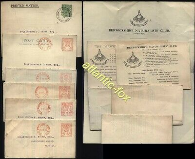 1930-34 BERWICKSHIRE NATURALISTS CLUB printed Cards & Notices Posted to ALNWICK