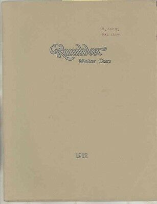1912 Rambler 4 Cylinder Cross Country ORIGINAL Prestige Brochure Kenosha wv6117