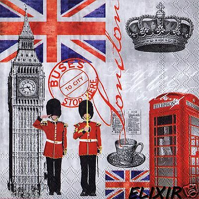 Serviettes En Papier Londres Angleterre Gardes Big Ben Paper Napkins London Uk