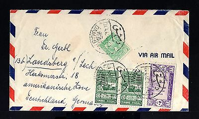 8532-SYRIA-AIRMAIL COVER DAMAS to LANDSBERG (germany) 1949.Syrie.Timbre fiscal.