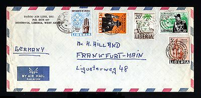 8527-LIBERIA-AIRMAIL COVER MONROVIA to FRANKFURT (germany) 1968.West africa