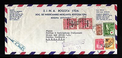8525-COLOMBIA-AIRMAIL CLIPPER COVER BOGOTA to KOLN (germany) 1953.Aerien.