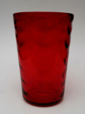 "Whitefriars England Ruby Red Wave Ribbed Optic Pattern Art Glass 6"" Vase 8473"
