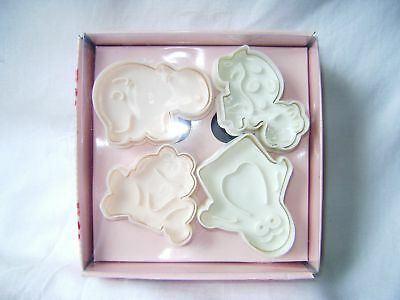 New Boxed 4 Animal Plunger Cutters, Icing Fondant Cookie Biscuit Penguin + Paroh