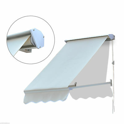 Outsunny Retractable Window Awning 4FT Door Canopy Sun Shade Shelter Cover New