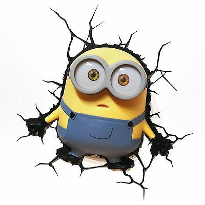 Despicable Me Minions Bob 3D Deco Led Wall Light + Crack Sticker New