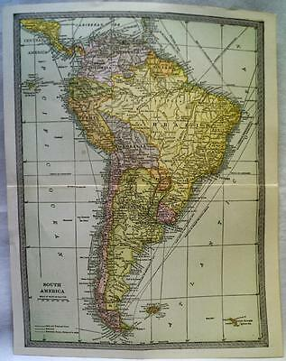 Continent Of South America Map 1912 Vintage Scientific American Atlas Page