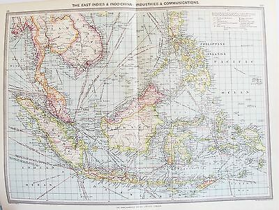 OLD ANTIQUE MAP EAST INDIES PHILIPPINES THAILAND MALAYSIA BORNEO c1906 by PHILIP