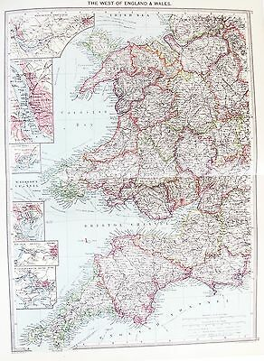 OLD ANTIQUE MAP WEST ENGLAND WALES PLYMOUTH CARDIFF LIVERPOOL c1906 by G PHILIP