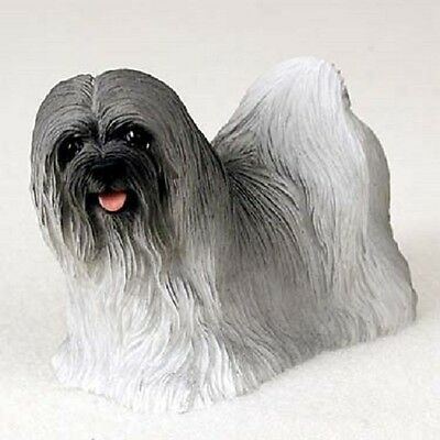 LHASA APSO Dog FIGURINE gray puppy HAND PAINTED COLLECTIBLE Resin Statue grey