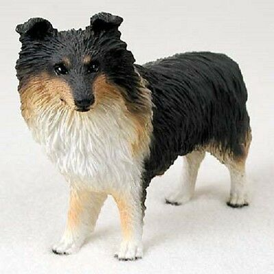 SHELTIE Dog FIGURINE Tricolor puppy HAND PAINTED COLLECTIBLE Shetland Sheepdog
