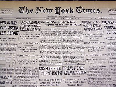 1933 January 10 New York Times - Coolidge Estate To Widow - Nt 4181