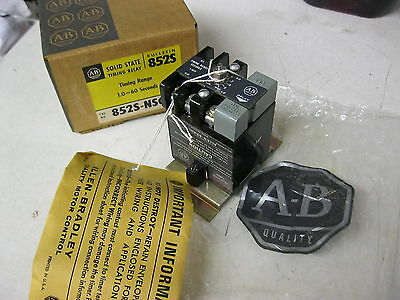 Allen Bradley 852S-NSC Solid State Timing Relay 1 to 60 seconds Time Delay Ser F