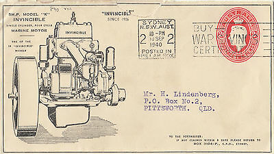 Stamp Australia 2d red KGV1 printed to private order cover Invincible Tractors