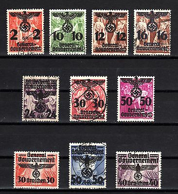 4340-GERMAN EMPIRE-GENERALGOUVERNEMENT.1940.WWII.NAZI LOT.Used.DEUTSCHES REICH