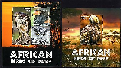 Liberia 2014 Birds of Prey Sheetlet 3 + M/S MNH