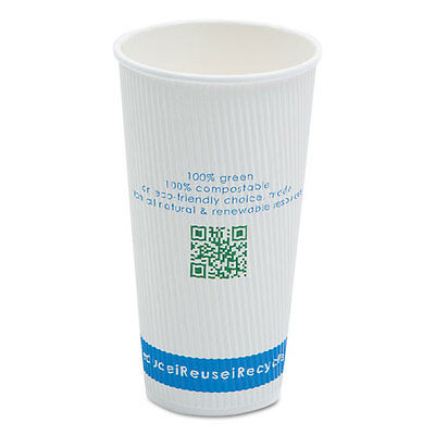 """""""Compostable Insulated Ripple-Grip Hot Cups, 20oz, White, 50/pack"""""""