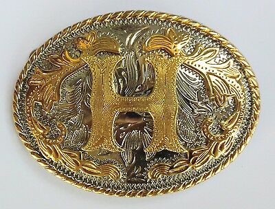 "Initial "" H ""  Rodeo Cowboy Letter Shine Gold Silver Western Belt Buckle"