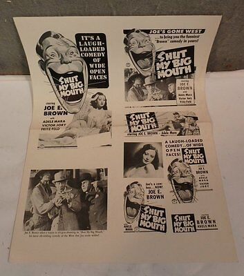 Original Vintage 1942 Joe E Brown  Shut My Big Mouth Movie Press Kit