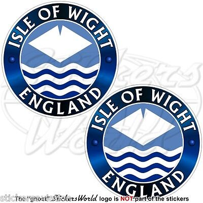 "ISLE of WIGHT-ENGLAND UK County Flag, British 75mm (3"") Vinyl Stickers Decals x2"