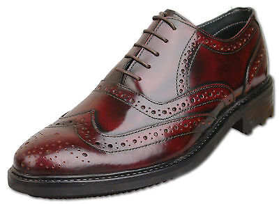Mens New Oxblood Leather Lace Up Formal Brogue Shoes Size 6 7 8 9 10 11 12