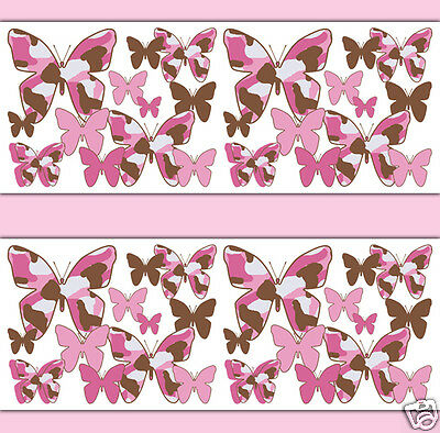 Pink Brown Camo Butterfly Wallpaper Border Wall Decal Girl Camouflage Stickers