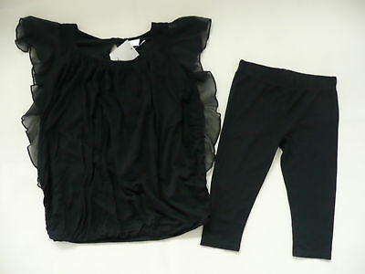 BNWT NEXT Black Ruffle Tunic & Cropped Leggings Set Age 4 years (104cm)