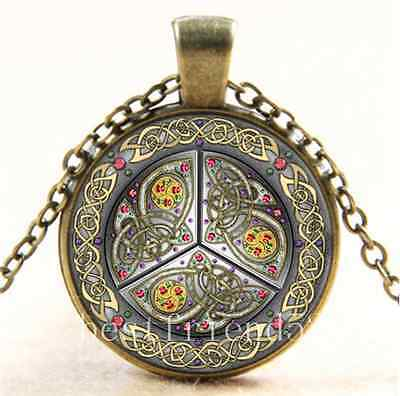 Vintage Bejeweled Celtic Shield Cabochon Glass Bronze Chain Pendant Necklace