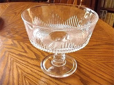 Glass compote comport diamond cut pressed clear pedestal vintage old