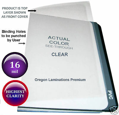 500 Extra Thick 16 Mil 11 x 17 Clear Binding Covers Plastic Sheets unpunched
