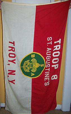 Vintage Boy Scouts America Troop 8 Flag St Augustines Troy Ny Annin Nylanin