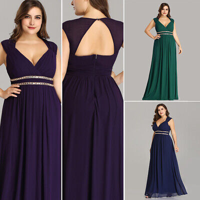 Maxi Homecoming Bridesmaid Dresses V Neck Evening Gown Chiffon Prom Party 08697