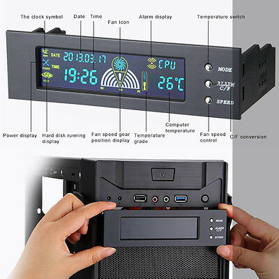"""5.25"""" Bay Front LCD Panel 3 Fan Speed Controller Computer CPU Temperature Sensor"""