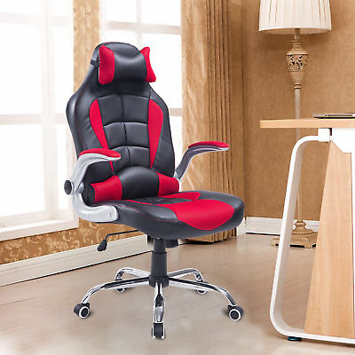 HOMCOM Swivel Car Racing Office Chair Adjustable Recliner Computer Seat Red