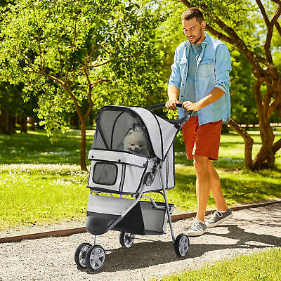 Pawhut Pet Stroller 3 Wheels Folding Jogger Travel Carrier W/ Brake & Canopy
