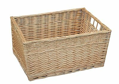 Buff Willow Wicker Storage Basket Bathroom Kitchen Large Beige Bedroom School