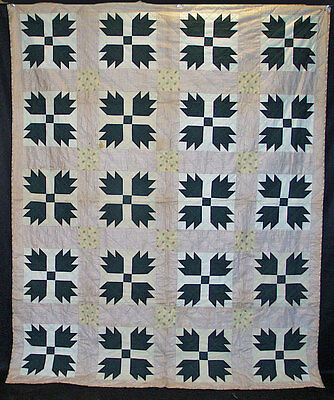 "ANTIQUE QUILT 1900's AMERICAN BEAR'S TRACK COTTON HAND SEWN  86"" x 71"""