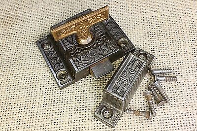 Cabinet catch jelly cupboard latch flat T brass flower knob old vintage Windsor