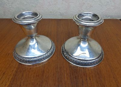 "TWO STERLING CANDLESTICKS CANDLE HOLDERS WEIGHTED SILVER PAIR 3"" TALL Vgc"