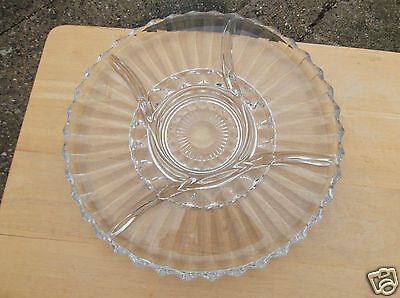 Large Vintage Clear Glass Divided Serving Plate