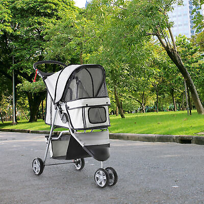 PawHut 3 Wheels Folding Dog Pet Stroller Carrying Cart w/ Brake Canopy Travel