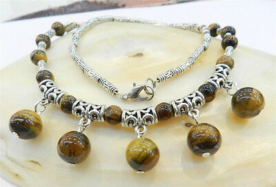"""Natural Tiger's Eye Round Beads Pendants & Tibet Silver Necklace 18"""" Aaa"""